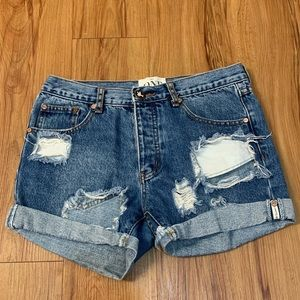 ONE TEASPOON Chargers Distressed Jean Shorts